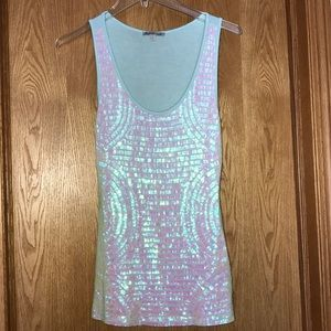 Charlotte Russe aqua blue pearly sequin tank top